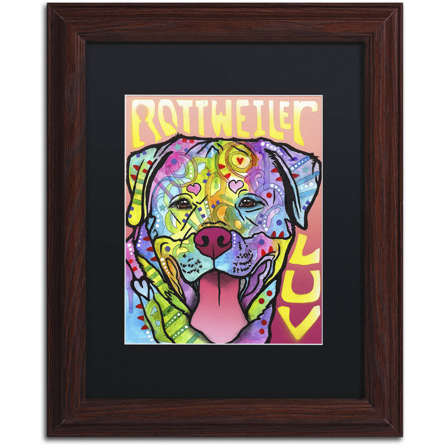 Trademark Fine Art 'Rottweiler  Luv' Canvas Art by Dean Russo, Black Matte, Wood Frame