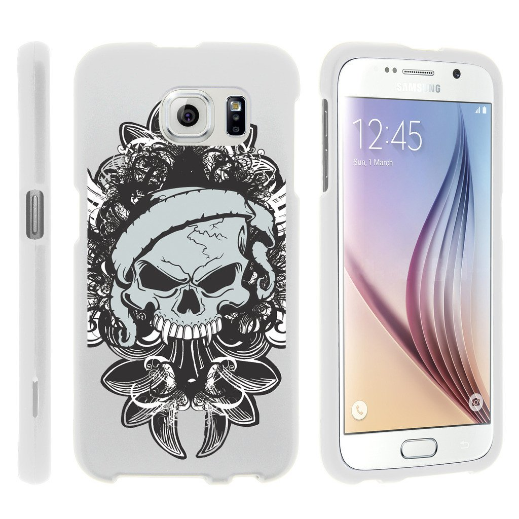 Samsung Galaxy S6 Edge G925, [SNAP SHELL][White] 1 Piece Snap On Rubberized Hard White Plastic Cell Phone Case with Exclusive Art -  Demon Skull