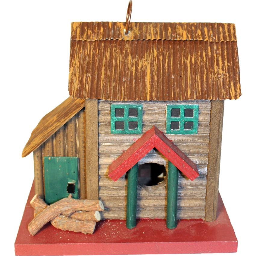 Songbird Essentials-Songbird 2-story Cabin Bird House- Brown/red 8x5.2x7.2