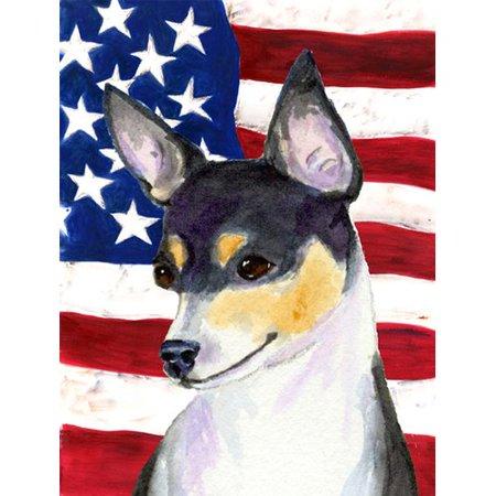 Caroline's Treasures American Flag with Fox Terrier 2-Sided Garden Flag