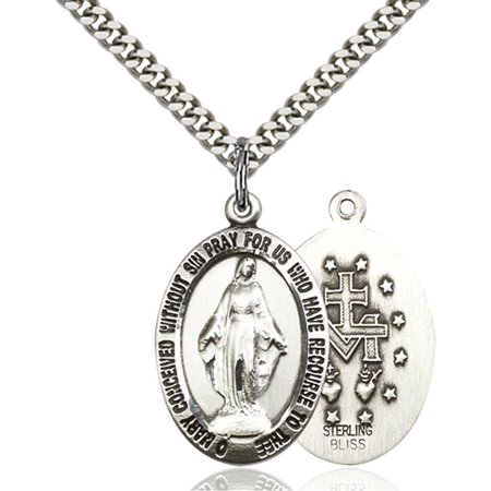 Sterling Silver Miraculous Pendant 1 X 5 8 Inches With Heavy Curb Chain