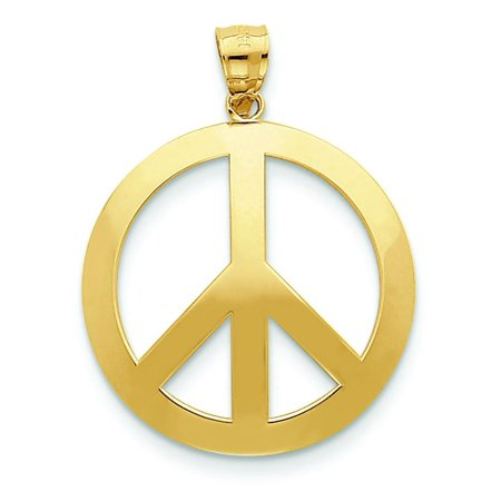14K Gold Peace Sign Pendant Charm Jewelry
