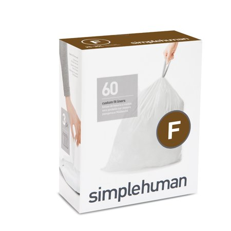 simplehuman Code F Custom Fit Liners, 25 Liter / 6.5 Gallon, 60 Count Simple Human Liners