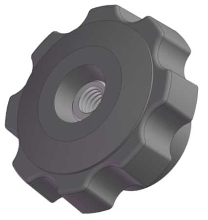 "INNOVATIVE COMPONENTS Fluted Knob, 1/4-20 Thread Size, 1.25""L, Thru Tap, Steel, 3GDX4"
