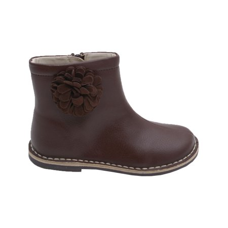 Little Girls Brown Suede Pom Pom Flower Leather Boots 5-10 - Girls Flower Boots
