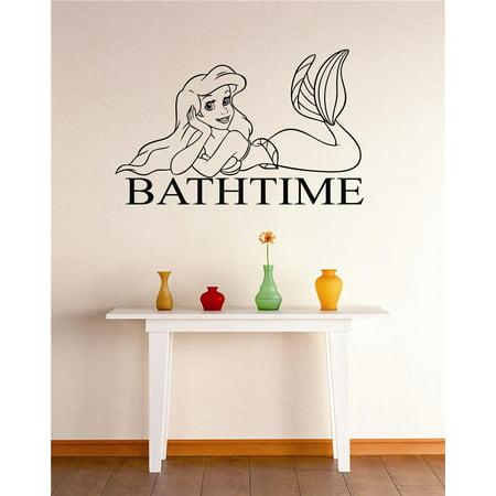 Custom Wall Decal Vinyl Sticker : Bathtime Mermaid Bathroom Tub Sign Quote Peel & Stick Mural 12x18 Inches