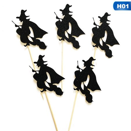 Halloween Witch Cupcakes (TURNTABLE LAB 5PCS Black Bat Witch Halloween Cupcake Toppers Picks Cake Decor Party)