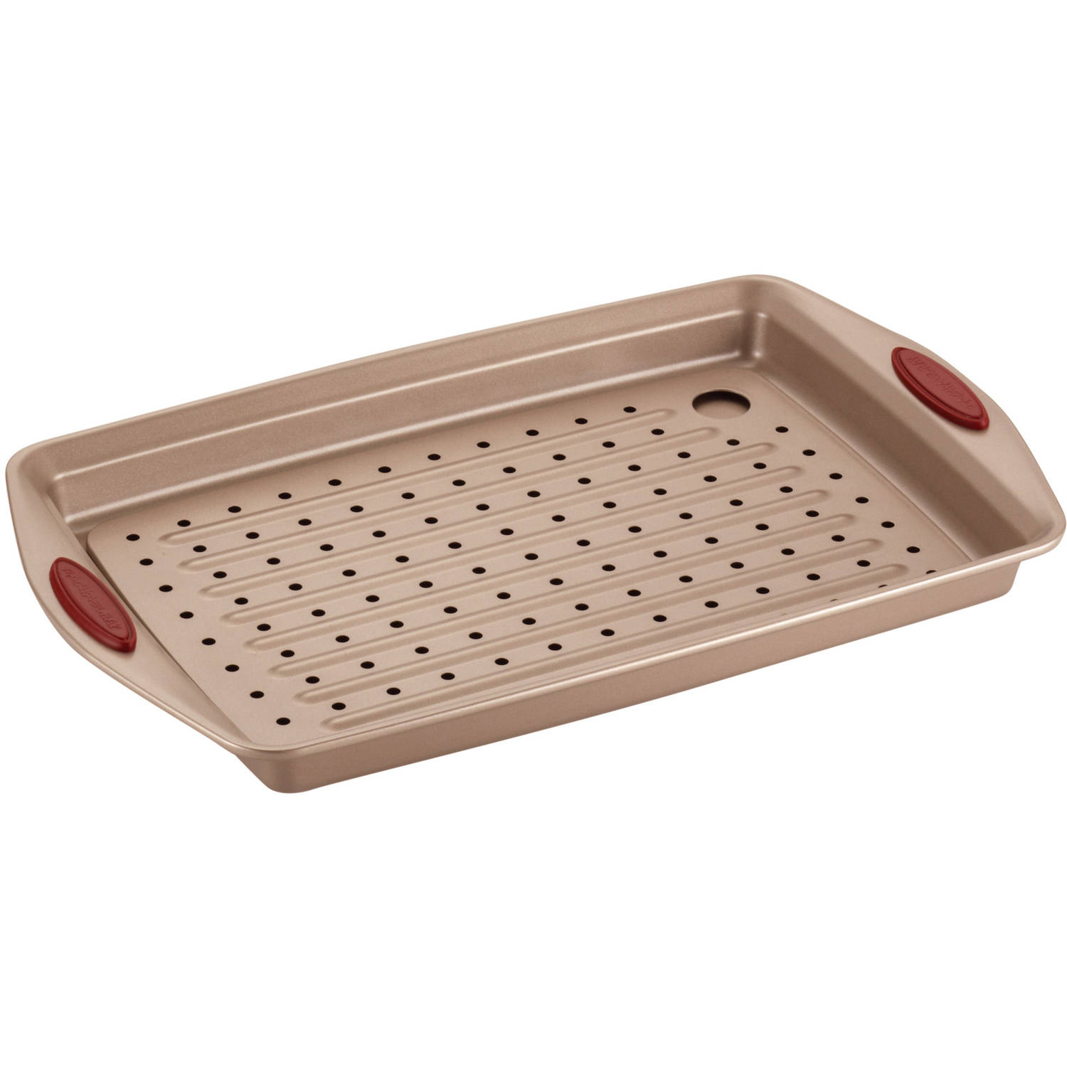Rachael Ray Cucina Nonstick Bakeware 2-Piece Crisper Pan Set, Latte Brown with Cranberry Red Handle Grips