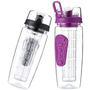 Fruit Infuser Water Bottle 32 oz: Flavored Water & Tea Infusion for Hydration, Protein Shake Sports Container, Leak-Proof Lid, Long Infuser Basket  with Sleeve, Cleaner Brush -Purple