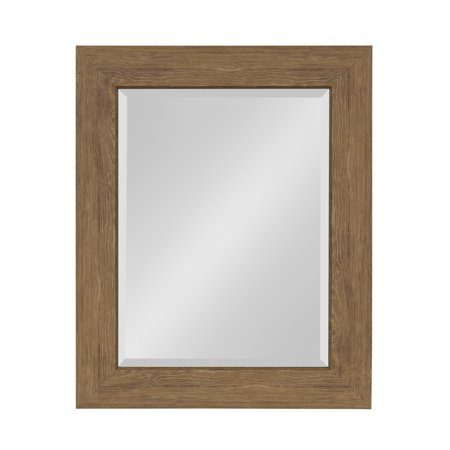 Kate and Laurel Boardwalk Framed Beveled Wall Mirror 24.5 x 30.5 inches, Medium Brown