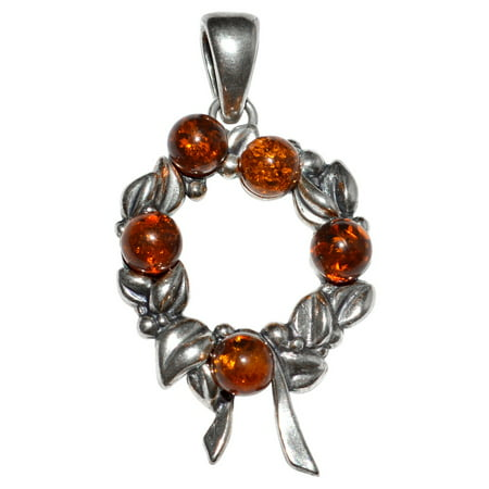 Amber 925 Sterling Silver Pendant (4g Christmas Wreath Authentic Baltic Amber 925 Sterling Silver Pendant Jewelry A1767)