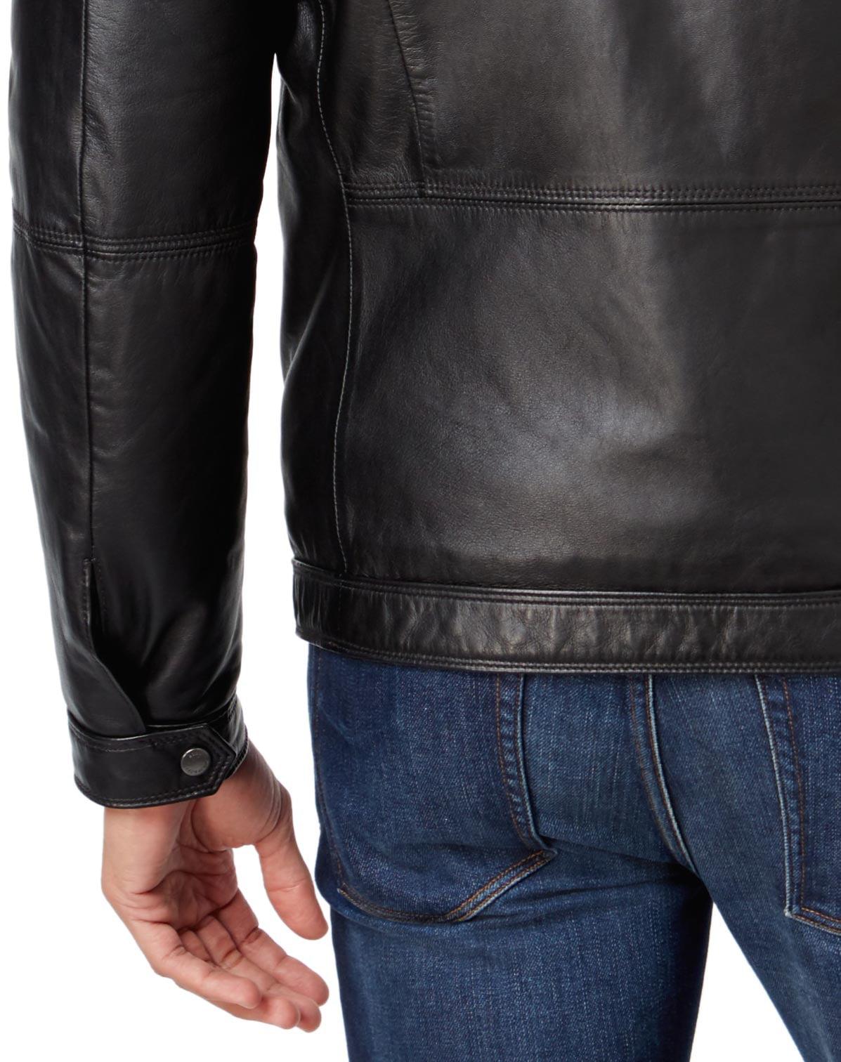 5f2c3a834 HUGO BOSS - Hugo Boss Green Jordes Genuine Lamb Leather Jacket Black 38  Regular 38R - Walmart.com