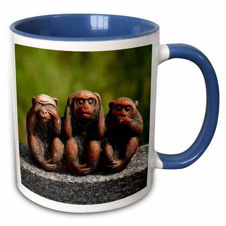 3dRose 3 Monkeys, hear, see, speak no evil - Two Tone Blue Mug, 11-ounce](Hear See Speak No Evil)