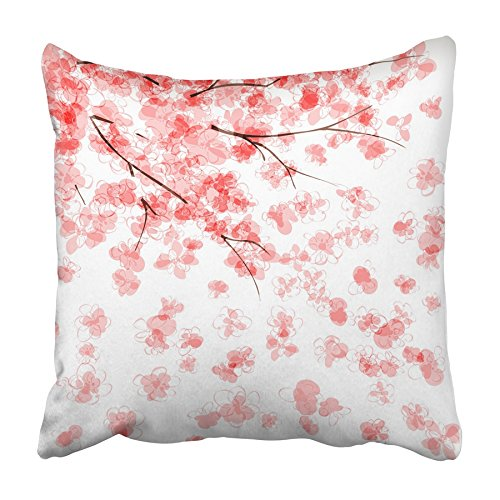 USART Pink Watercolor with Blooming Japanese Cherry Tree Blossom Flower Peach Petal Pillowcase Cushion Cover 16x16 inch