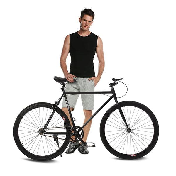 Black 26inch Fixie Fixed Gear Single Speed Bike SMT