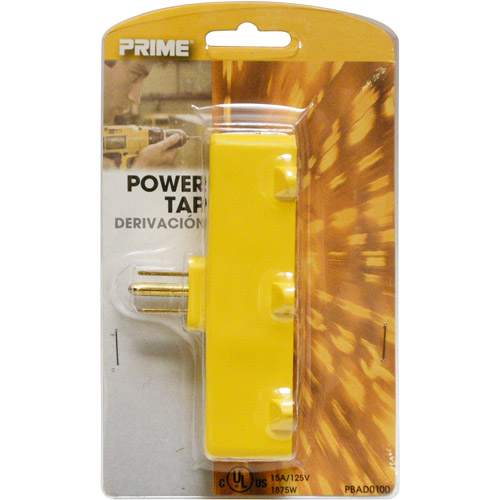 Prime Wire 3-Outlet Adapter, Yellow