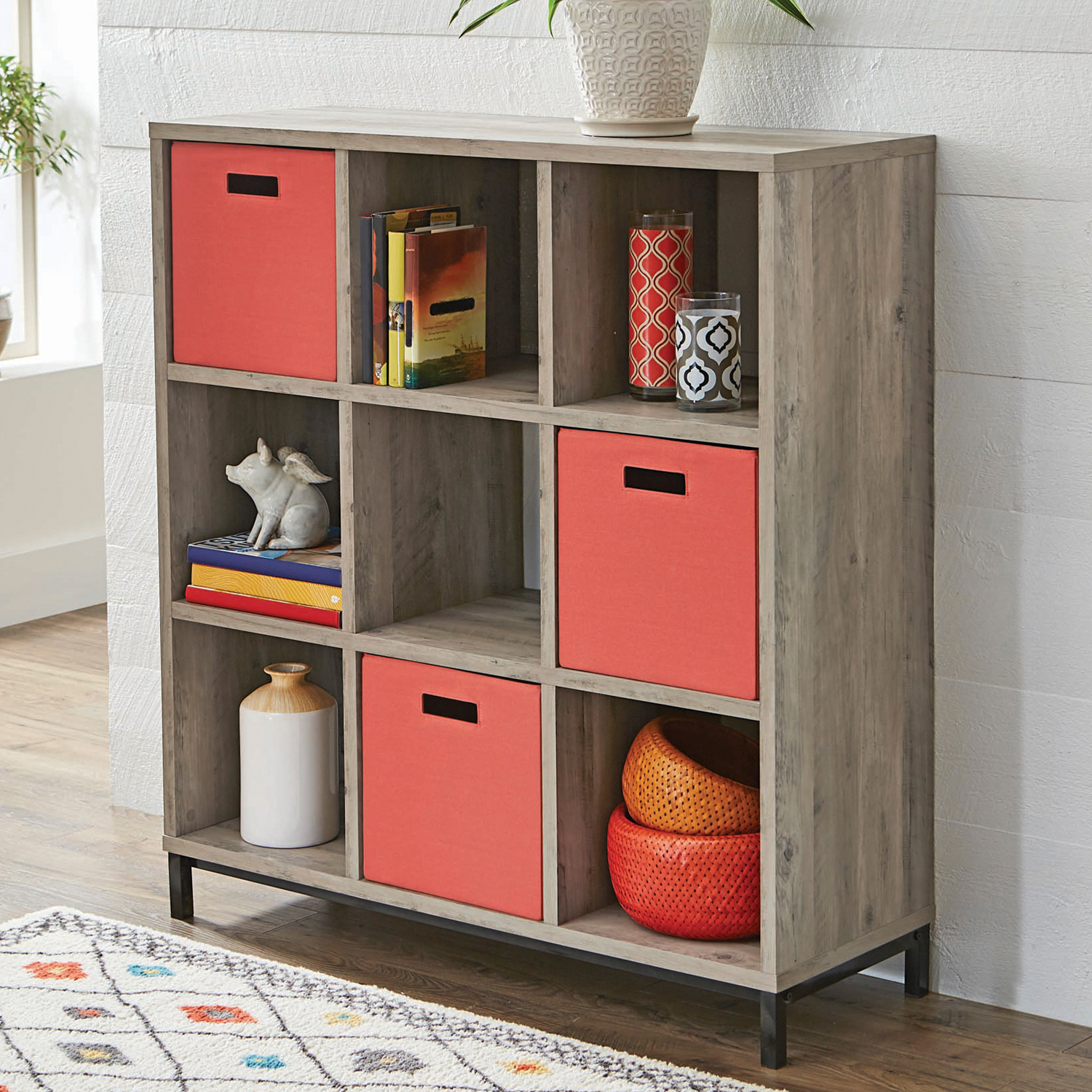Better Homes And Gardens 9 Cube Storage Organizer With Metal Base, Multiple  Finishes