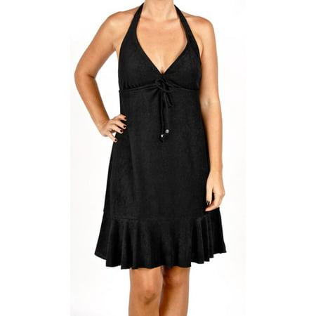 Womens Plus Size Terry Cloth Halter Dress Swim Cover Up Walmart
