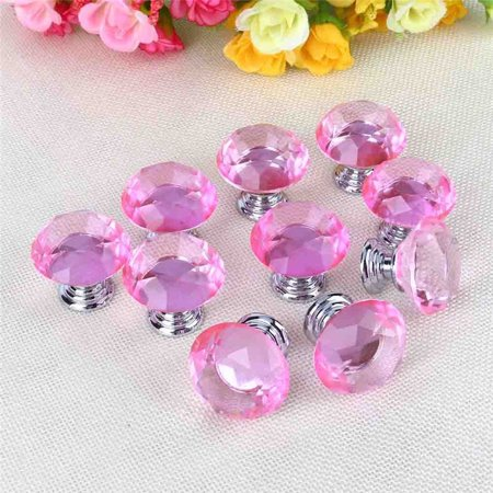 10Pcs Pink Crystal Glass Door Handle Knobs Pulls Diamond Drawer Cabinet Kitchen