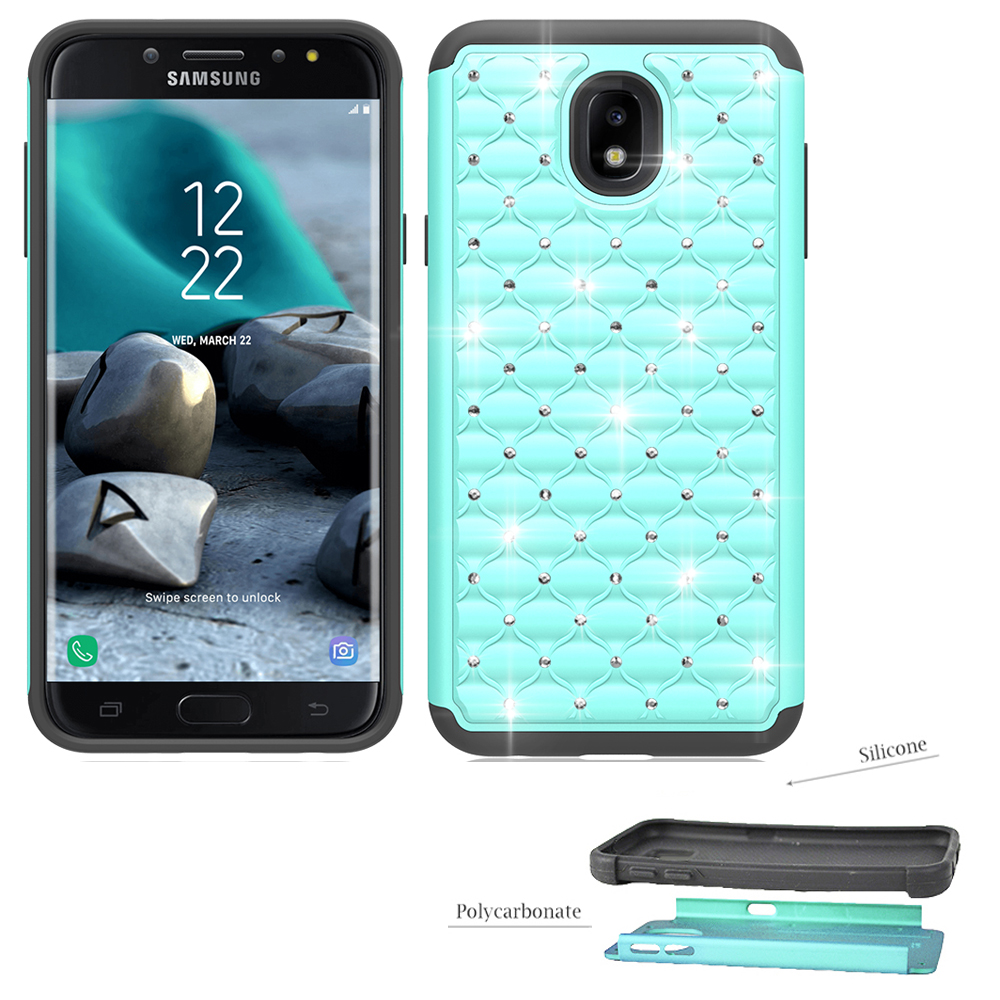 Phone Case for Samsung Galaxy J7 V 2nd-Gen. (Verizon), Samsung Galaxy J7 (2018), J7 Refine, J7 Star, J737 Crystal-Dual-Layered Rugged Cover (Crystal Teal with Black)