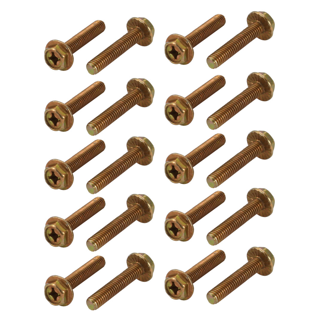 Unique Bargains 20Pcs M6x30mm Yellow Zinc Plated Philips Drive Serrated Flange Hex Head Bolt - image 3 of 3