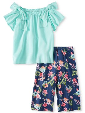 2123d237a9d Product Image Bow Top and Tropical Gaucho Pant (Little Girls)