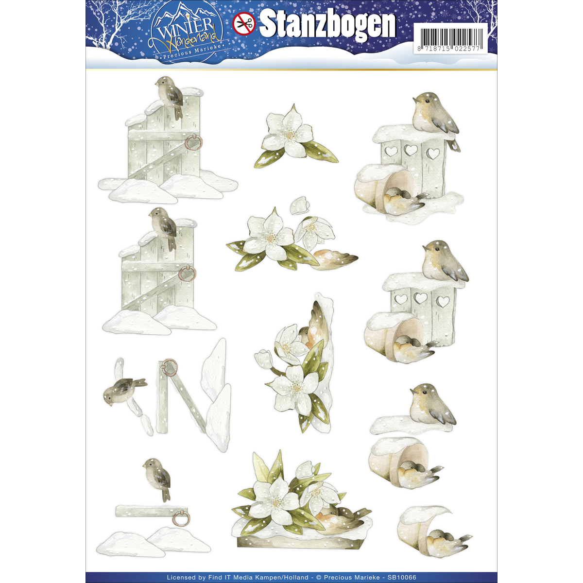 Find It Precious Marieke Winter Wonderland Punchout Sheet-Snowy Bird, Gate & Flower