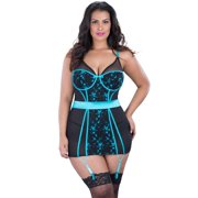 Plus Size Underwire Embroidered Detail Babydoll Lingerie