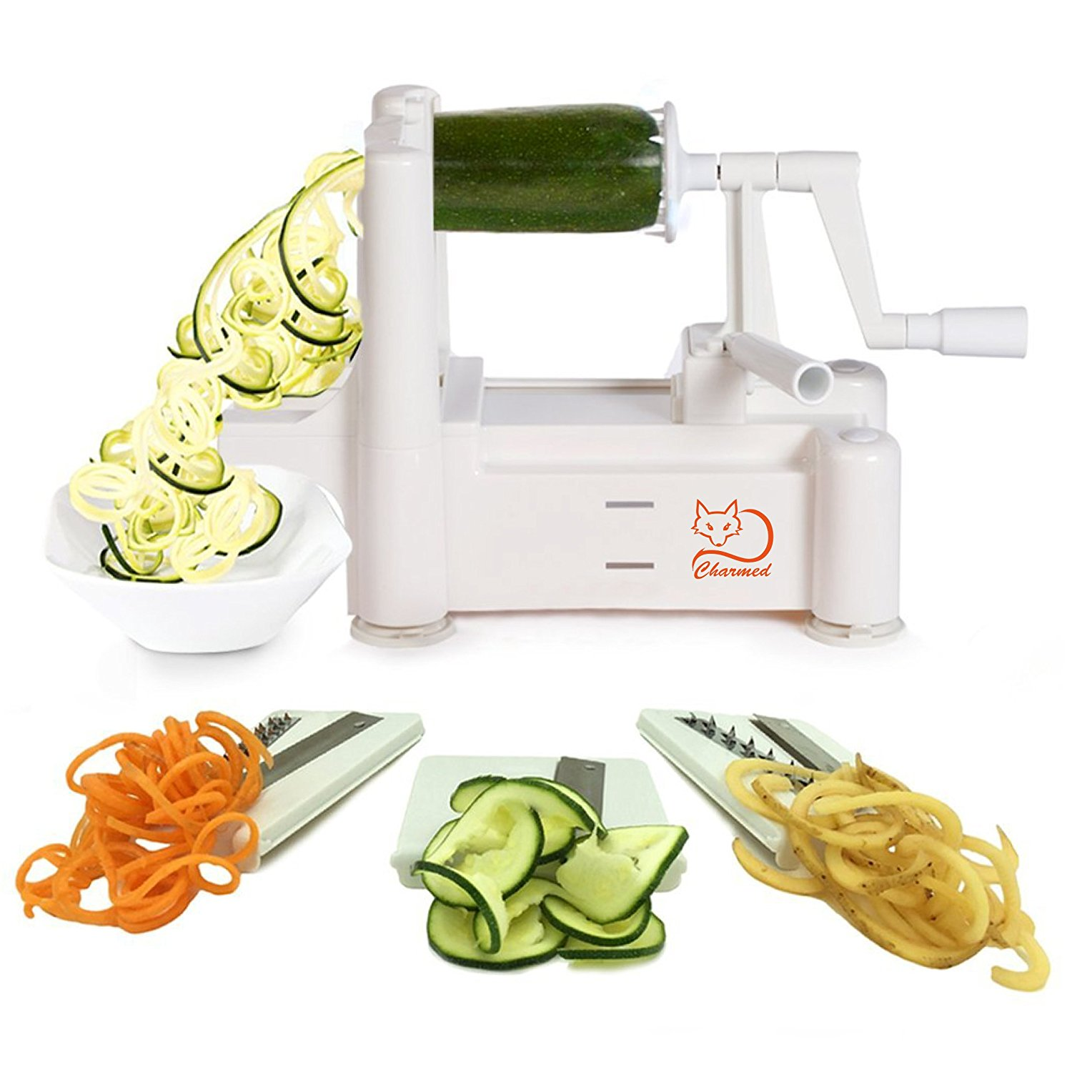 CHARMED TRI-BLADE VEGETABLE SPIRAL SLICER GRATER PEELER WITH SUCTION BASE