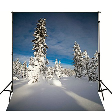 GreenDecor Polyster Photography Background 5x7ft Winter Wonderland Backdrop for Christmas White Snow Studio Props - Winter Wonderland Props