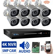5-Megapixel Video & Audio Wireless Security Camera System 8CH 4K NVR with 8 x 5MP HD 1920P WiFi IP Cameras and 2TB HDD, Built-In Microphone, Weatherproof, 100FT IR Night Vision