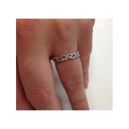 Women's 1/6ct Vintage Scroll Stackable Diamond Ring 14K White Gold - image 3 of 4