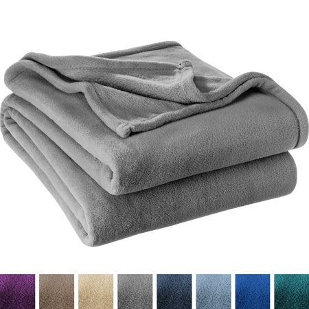 Dover Blanket - Ultra Soft Microplush Velvet Blanket - Luxurious Fuzzy Fleece Fur - All Season Premium Bed Blanket (Full / Queen, Grey)