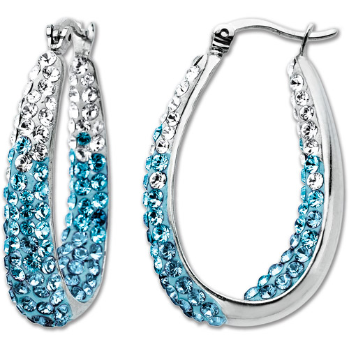 Luminesse Sterling Silver Blue Fade Hoop Earrings made with Swarovski Elements