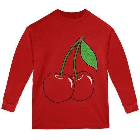 Halloween Fruit Cherry Costume Youth Long Sleeve T - Spirit Halloween Cherry Hill