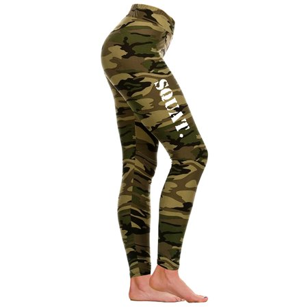 Junior's Army Squat. V432 Camo Athletic Workout Leggings One Size (S-L) (Army Camo)