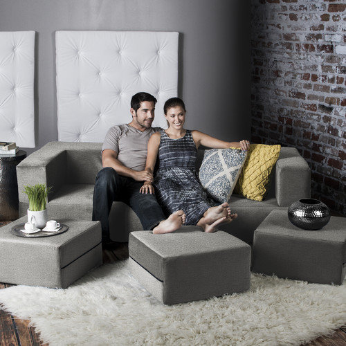 Jaxx Zipline Convertible Sleeper Sofa with Ottomans