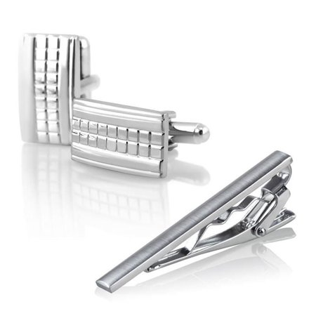Zodaca Men Necktie Tie Bar Clasp Clip Cufflinks Set Silver Simple Party Gift