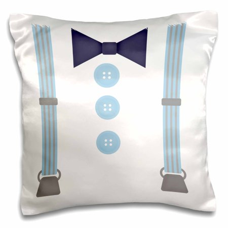 3dRose Cute Hipster Suspenders and Bow Tie In Blue - Pillow Case, 16 by 16-inch