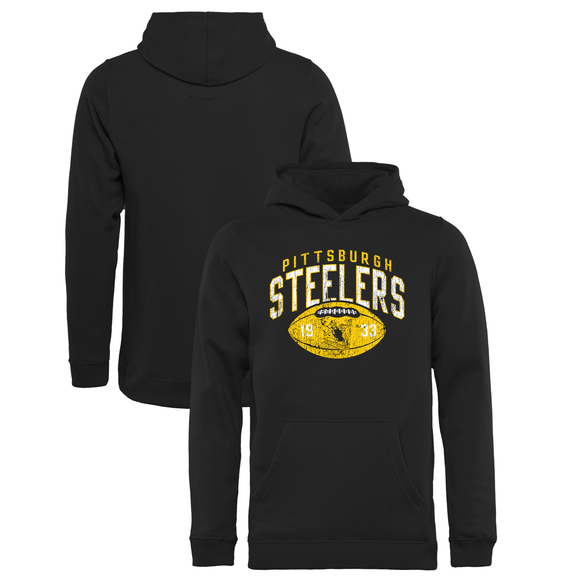 Pittsburgh Steelers NFL Pro Line by Fanatics Branded Youth Throwback Collection Coin Toss Pullover Hoodie - Black