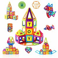 Magnetic Building Blocks Toys by CifToys - 106 Piece Set Play-boards For Kids Creative Play