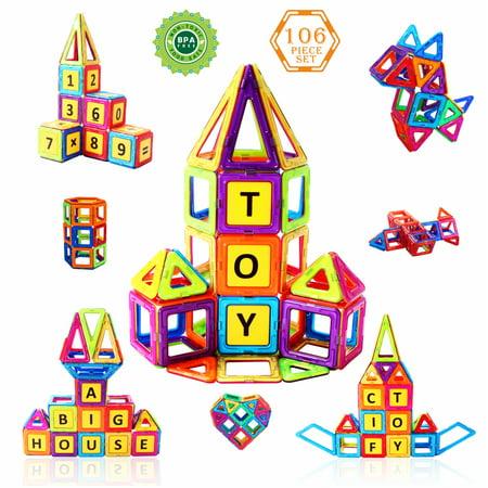CifToys Magnetic Building Blocks 106 Pieces Shapes Colors Alphanumeric Cards