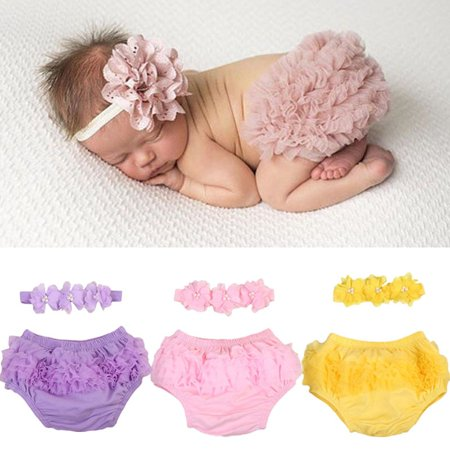 Newborn Baby Girls Lace Ruffle Diaper PP Pants Skorts Tutu blooming Skirt Shorts