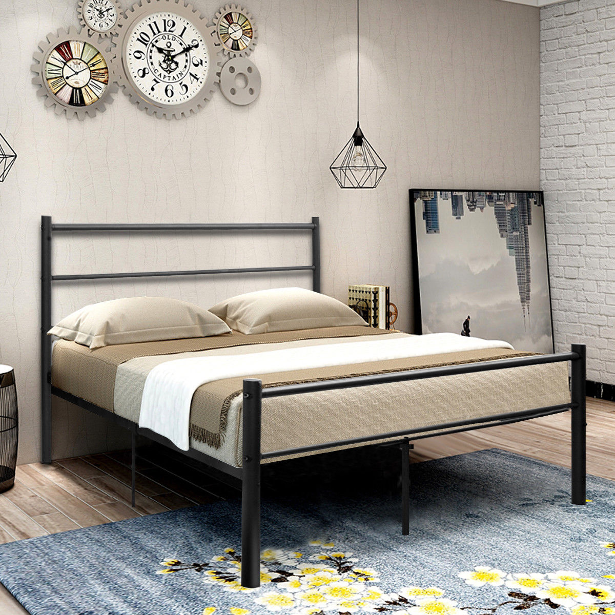 Costway Black Full Size Metal Bed Frame Platform Headboard 10 Legs Furniture by Costway