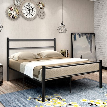 Costway Black Full Size Metal Bed Frame Platform Headboard 10 Legs ...