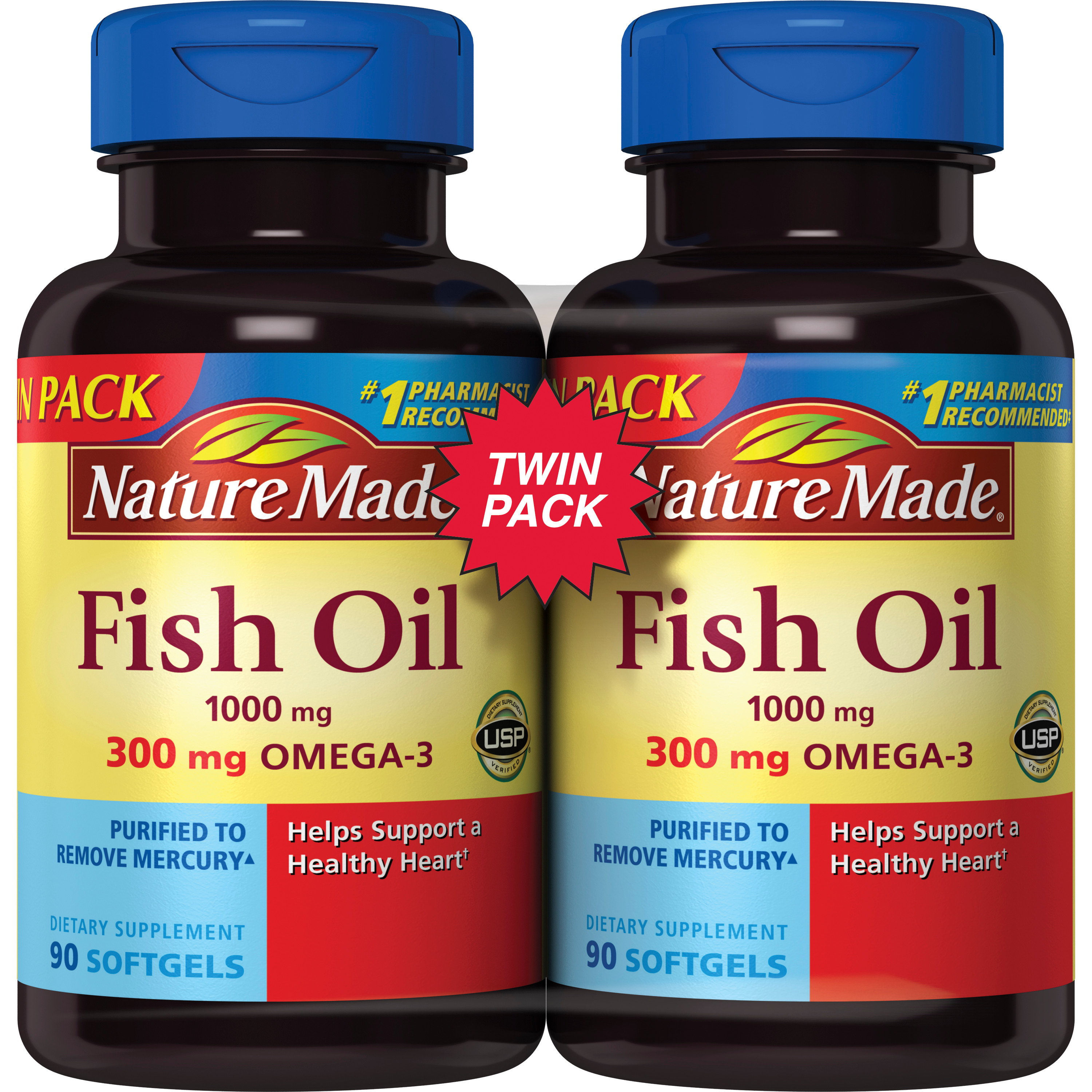 Nature Made Fish Oil 1000mg 300mg Omega-3 Twinpk, 180 count