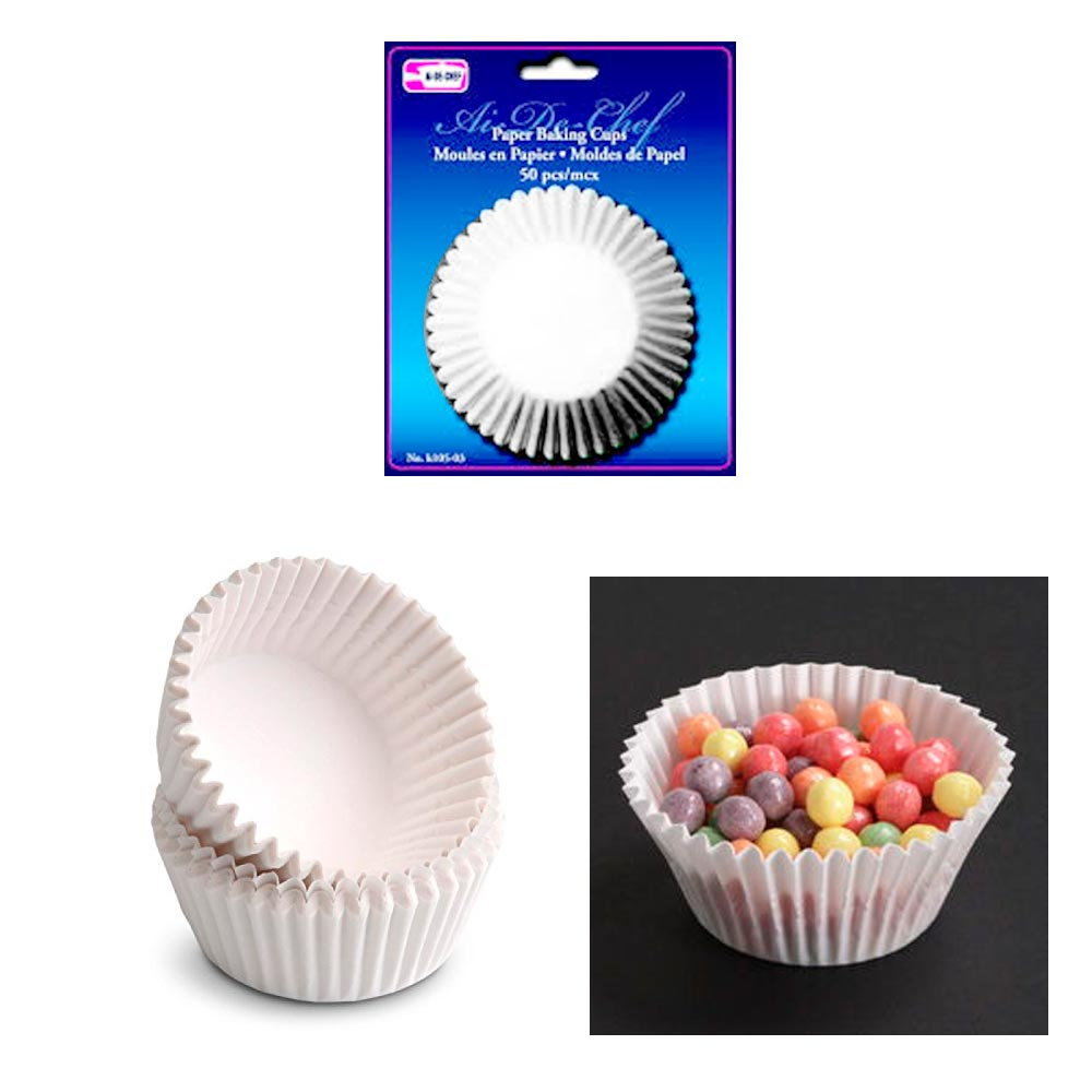 50 Pc Paper Baking Cups Molds Cupcake Muffin Parchment Liners Bake Party White