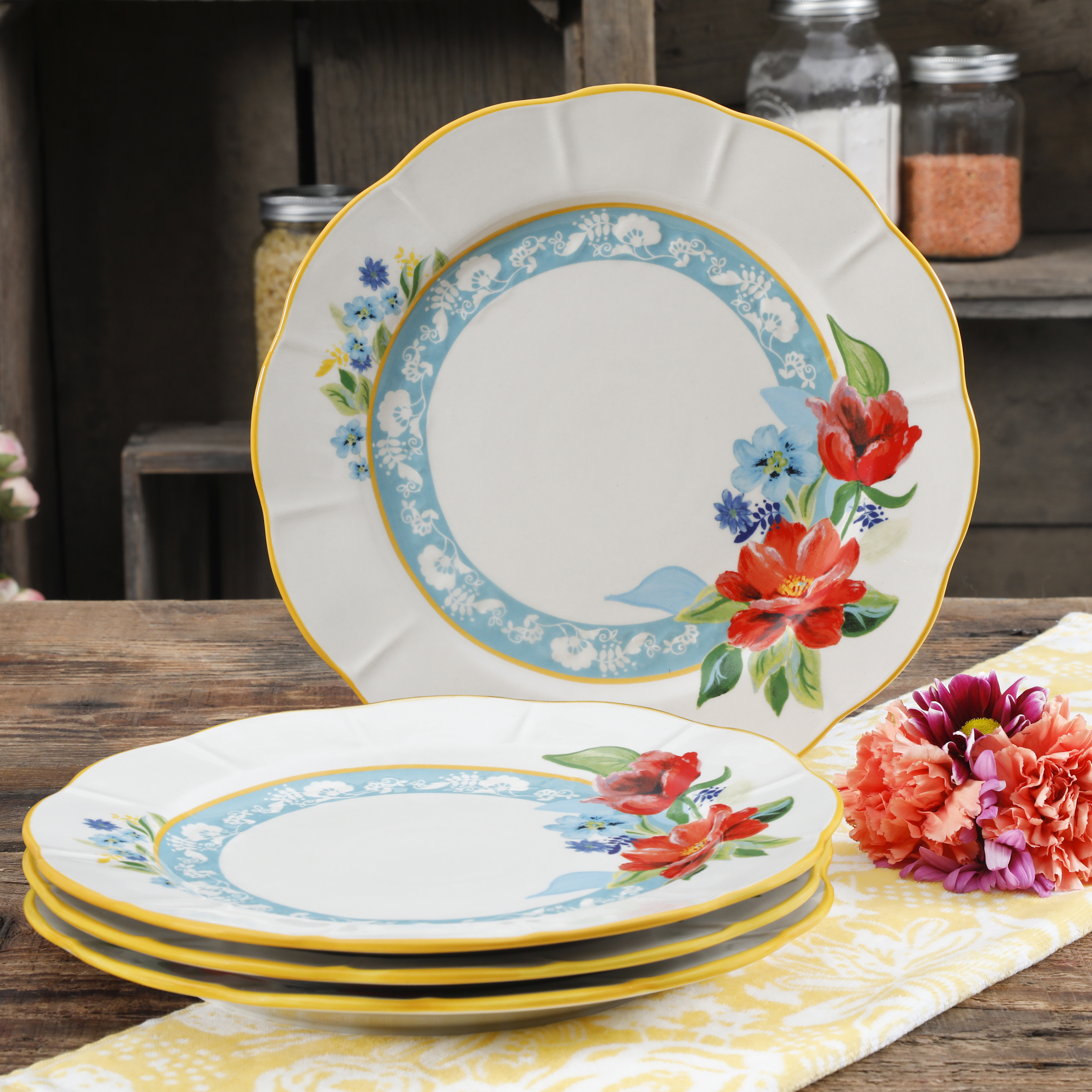 The Pioneer Woman Spring Bouquet 11-Inch Dinner Plates, Set of 4