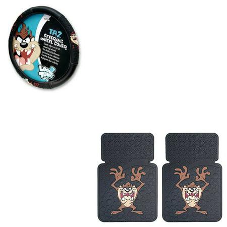 Taz Tasmanian Devil 2 Front Vinyl Floor Mats And Wheel Cover