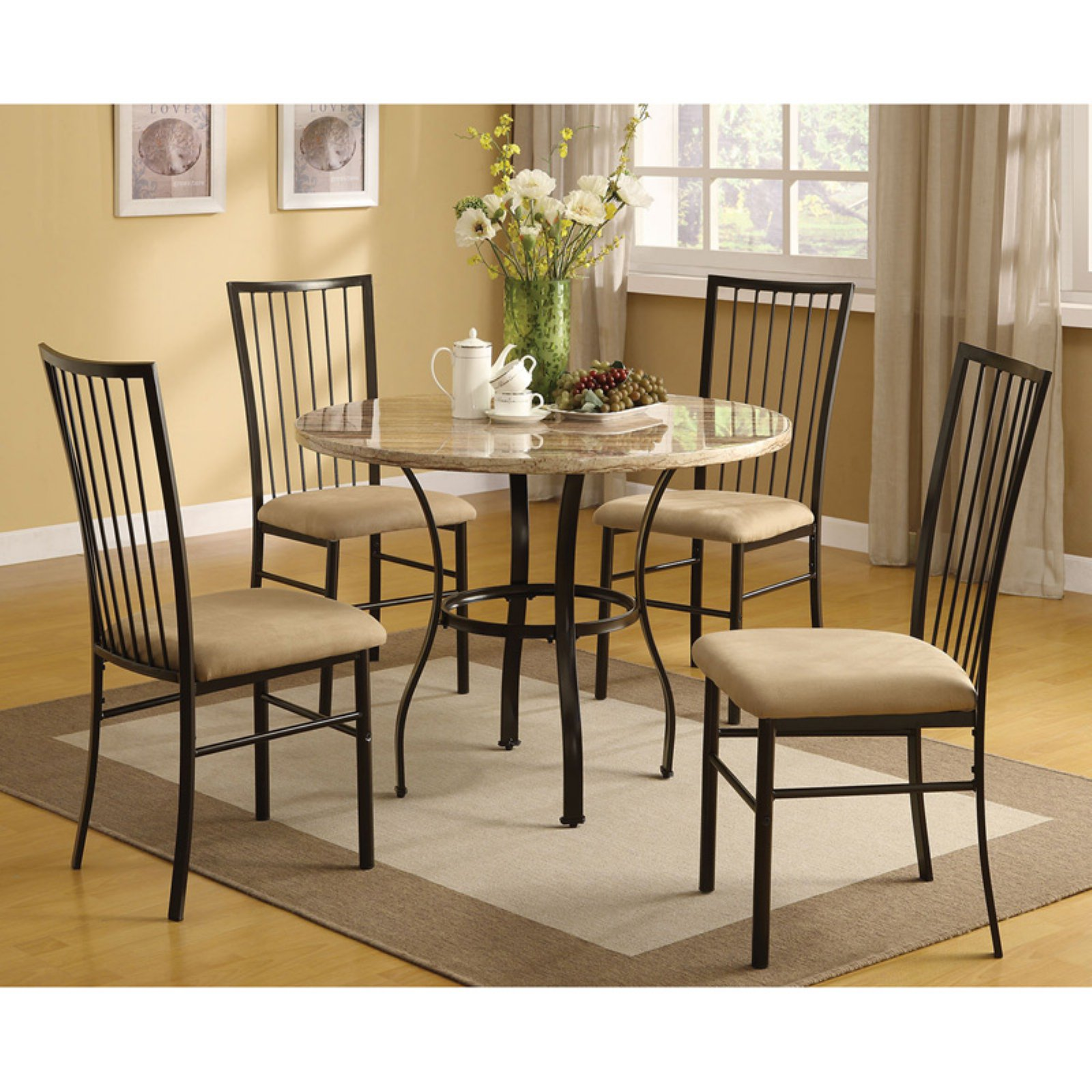 Darell Faux Marble Top 5-Piece Dining Room Set by Acme